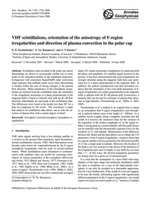 Vhf Scintillations, Orientation of the A... by Tereshchenko, E. D.