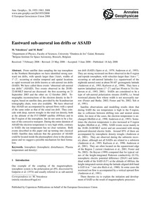 Eastward Sub-auroral Ion Drifts or Asaid... by Voiculescu, M.
