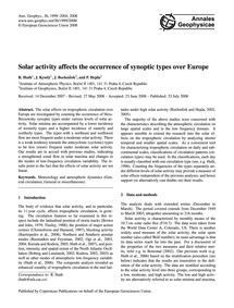 Solar Activity Affects the Occurrence of... by Huth, R.