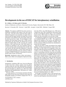 Developments in the Use of Eiscat for In... by Fallows, R. A.