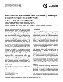 Phase Calibration Approaches for Radar I... by Chau, J. L.