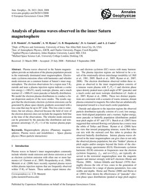 Analysis of Plasma Waves Observed in the... by Menietti, J. D.