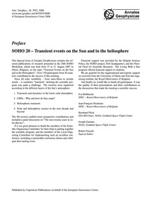 Preface: Soho 20 – Transient Events on t... by Robbrecht, E.