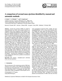 A Comparison of Coronal Mass Ejections I... by Yashiro, S.