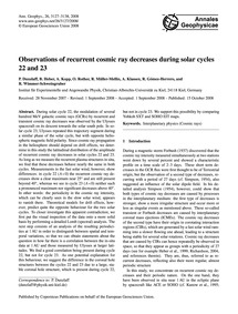 Observations of Recurrent Cosmic Ray Dec... by Dunzlaff, P.