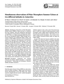 Simultaneous Observations of Polar Mesos... by Nilsson, H.