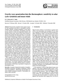 Gravity Wave Penetration Into the Thermo... by Fritts, D. C.