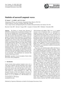 Statistics of Auroral Langmuir Waves : V... by Samara, M.