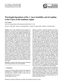 Wavelength Dependence of the ES Layer In... by Cosgrove, R. B.