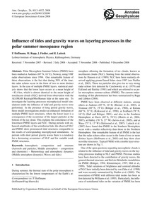 Influence of Tides and Gravity Waves on ... by Hoffmann, P.