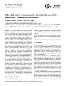 Solar Wind Control of Plasma Number Dens... by Nagata, D.