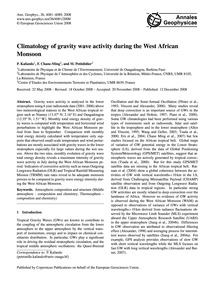 Climatology of Gravity Wave Activity Dur... by Kafando, P.