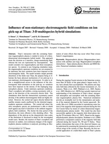 Influence of Non-stationary Electromagne... by Simon, S.