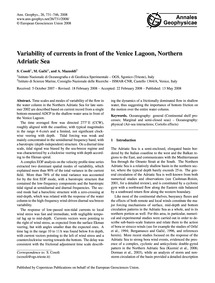 Variability of Currents in Front of the ... by Cosoli, S.