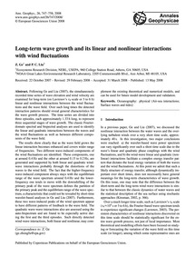 Long-term Wave Growth and Its Linear and... by Ge, Z.