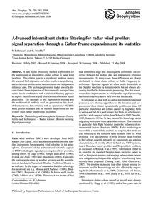 Advanced Intermittent Clutter Filtering ... by Lehmann, V.