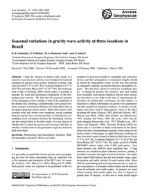 Seasonal Variations in Gravity Wave Acti... by Clemesha, B. R.