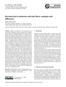 Reconnection in Substorms and Solar Flar... by Birn, J.