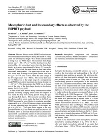 Mesospheric Dust and Its Secondary Effec... by Havnes, O.