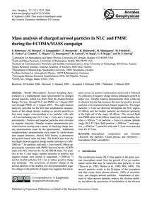 Mass Analysis of Charged Aerosol Particl... by Robertson, S.