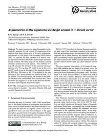 Asymmetries in the Equatorial Electrojet... by Rastogi, R. G.