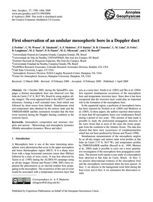First Observation of an Undular Mesosphe... by Fechine, J.