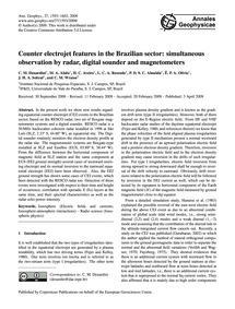 Counter Electrojet Features in the Brazi... by Denardini, C. M.