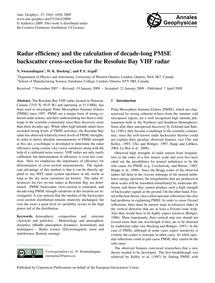 Radar Efficiency and the Calculation of ... by Swarnalingam, N.
