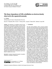 The Linear Dependence of Ghz Scintillati... by Whalen, J. A.