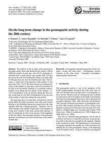 On the Long Term Change in the Geomagnet... by Ouattara, F.