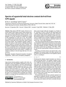 Spectra of Equatorial Total Electron Con... by Van De Kamp, M. M. J. L.