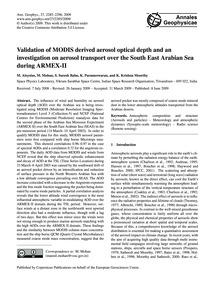 Validation of Modis Derived Aerosol Opti... by Aloysius, M.