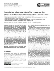 Solar Wind and Substorm Excitation of th... by Forsyth, C.