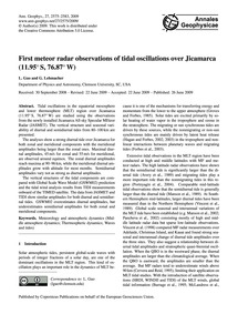 First Meteor Radar Observations of Tidal... by Guo, L.