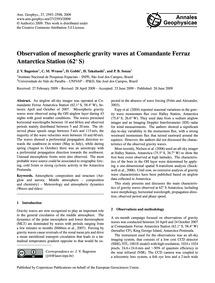 Observation of Mesospheric Gravity Waves... by Bageston, J. V.