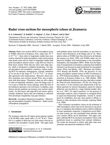 Radar Cross Sections for Mesospheric Ech... by Lehmacher, G. A.