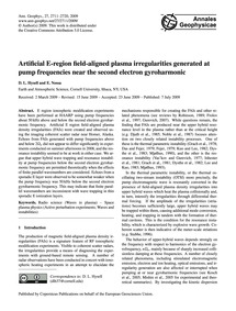 Artificial E-region Field-aligned Plasma... by Hysell, D. L.