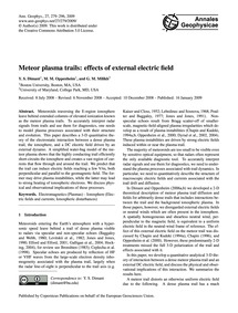 Meteor Plasma Trails: Effects of Externa... by Dimant, Y. S.
