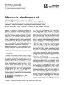Influences on the Radius of the Auroral ... by Milan, S. E.