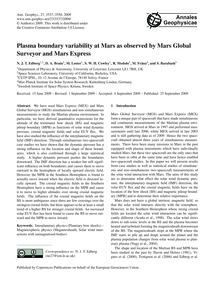 Plasma Boundary Variability at Mars as O... by Edberg, N. J. T.