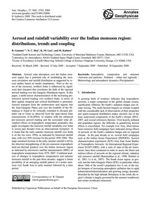 Aerosol and Rainfall Variability Over th... by Gautam, R.