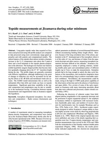 Topside Measurements at Jicamarca During... by Hysell, D. L.