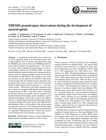 Themis Ground-space Observations During ... by Keiling, A.