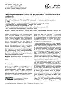 Magnetopause Surface Oscillation Frequen... by Plaschke, F.