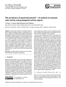 The Persistence of Equatorial Spread F –... by Sreeja, V.