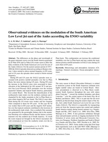 Observational Evidences on the Modulatio... by Silva, G. A. M.