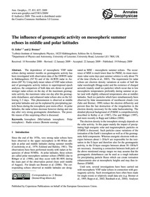 The Influence of Geomagnetic Activity on... by Zeller, O.