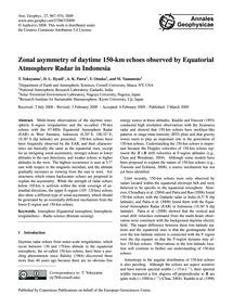 Zonal Asymmetry of Daytime 150-km Echoes... by Yokoyama, T.