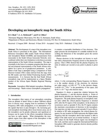 Developing an Ionospheric Map for South ... by Okoh, D. I.