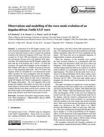 Observations and Modelling of the Wave M... by Borderick, J. D.